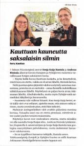 """Bild eines Zeitungsausschnittes über die Ausstellung """"Eurajoki ja Pyhäjärvi kuvina"""" in Alasatakunta vom 7.10.2014"""