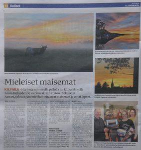 """Bild eines Zeitungsartikels in der Zeitung Alasatakunta über die Gewinner des Fotowettberbes """"Minun Eurani"""""""