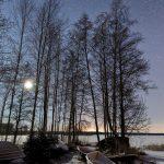 Blick durch kahle Bäume über eine Eisfläche bei Nacht
