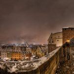 Panorama über Nürnberg bei Nacht im Winter