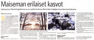 """Bild des Zeitungsberichtes über die Ausstellung """"Eurajoki ja Pyhähärvi kuvina"""" in der Zeitung Länsi-Suomi vom 10.10.2014"""