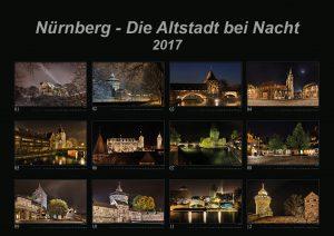 """Bild vom Deckblatt des Kalenders """"Nürnberg - Die Altstadt bei Nacht 2017"""""""