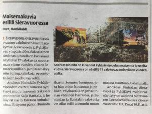 Zeitungsartikel in Alasatakunta über die Ausstellung in Sieravuori
