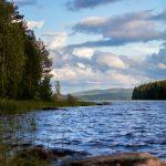 Blick über eine Wasserfläche entlang eines Waldes Richtung mehrerer Hügle