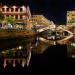 Bild der Fleischbrücke bei Nacht