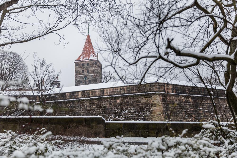 Blick auf die verscheite Burgmauer mit dem Tiergärtnertorturm im Hintergrund