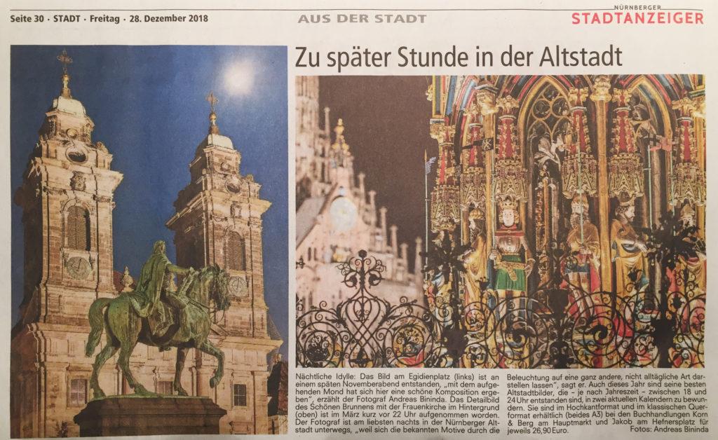 Zeitungsartikel vom 28.12.2018 Nürnberger Nachrichten