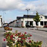 Straße mit Blumenkübeln am Rand