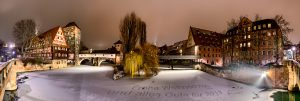 Panorama das Henkerstegs in Nürnberg als Weihnachtskarte