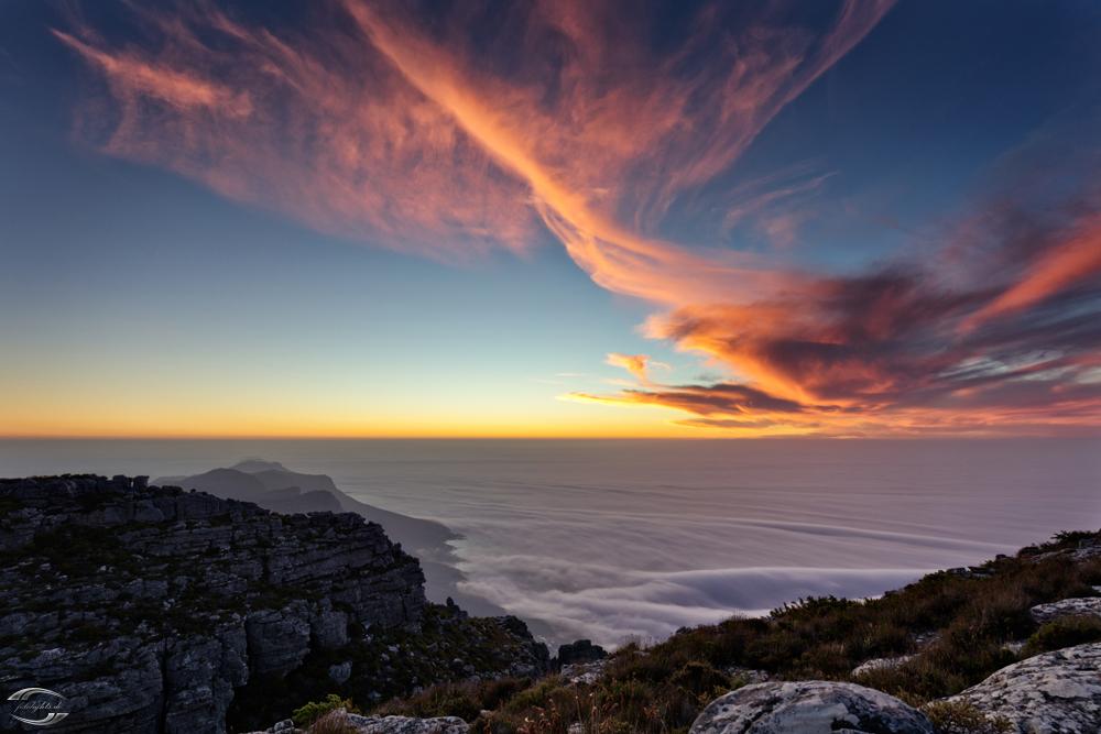 Auf dem Tafelberg bei Sonnenuntergang